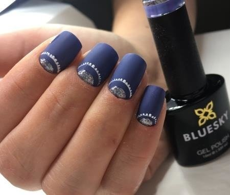 Bluesky Gel Polish AW 1805 WIND  - BIG Blue marble